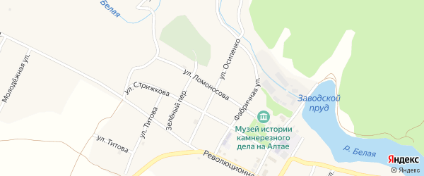 Улица Ломоносова на карте села Колывани с номерами домов