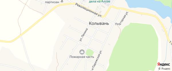 Коммунальный переулок на карте села Колывани с номерами домов