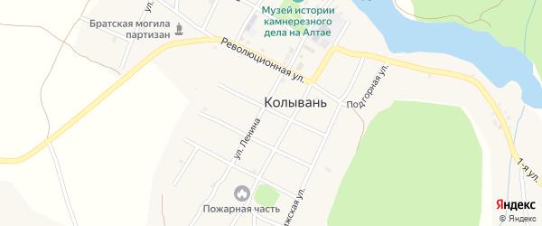 Советский переулок на карте села Колывани с номерами домов