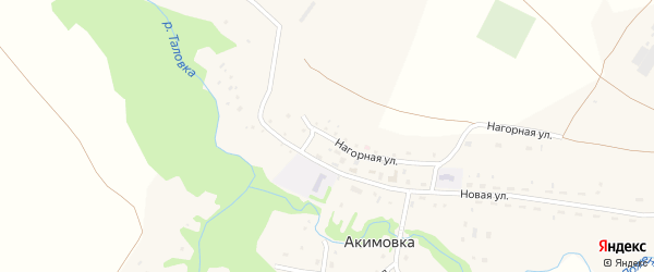 Нагорная улица на карте села Акимовки с номерами домов