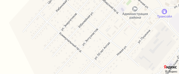 Улица Энтузиастов на карте села Шелаболихи с номерами домов