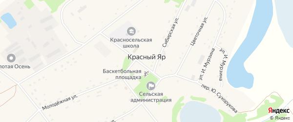 Партизанский переулок на карте села Красного Яра с номерами домов
