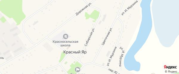 Сибирская улица на карте села Красного Яра с номерами домов