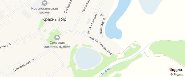 Переулок Ю.Сухорукова на карте села Красного Яра с номерами домов