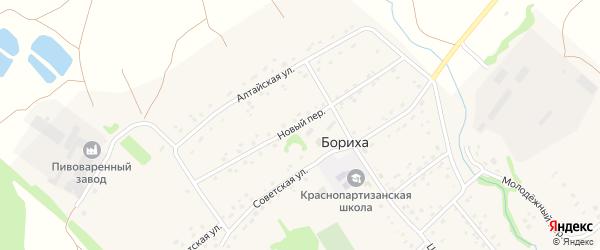 Новый переулок на карте поселка Борихи с номерами домов