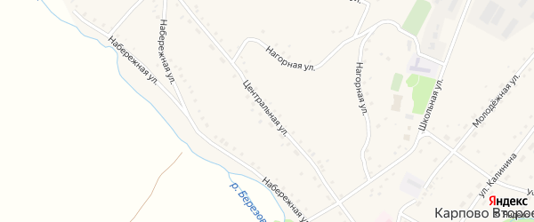 Центральная улица на карте Карпова Второго села с номерами домов