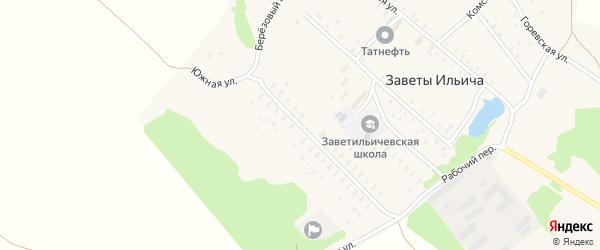 Южная улица на карте поселка Заветы Ильича с номерами домов
