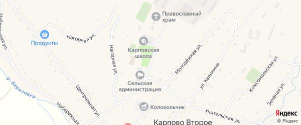 Школьная улица на карте Карпова Второго села с номерами домов
