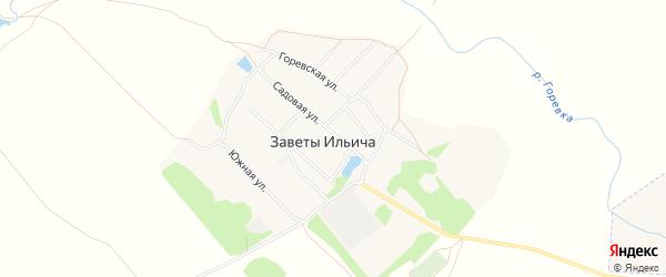 Карта поселка Заветы Ильича в Алтайском крае с улицами и номерами домов