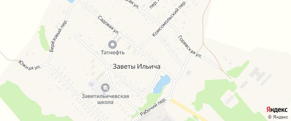 Зеленая улица на карте поселка Заветы Ильича с номерами домов