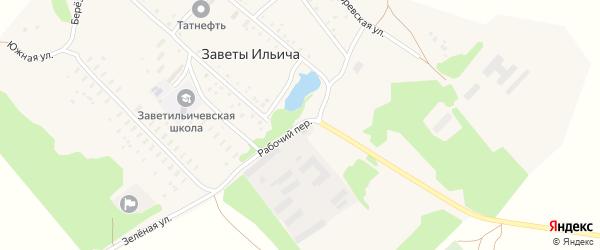 Рабочий переулок на карте поселка Заветы Ильича с номерами домов