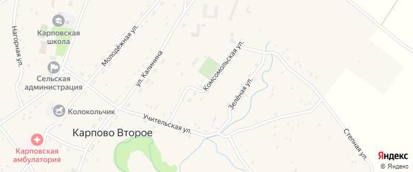 Комсомольская улица на карте Карпова Второго села с номерами домов