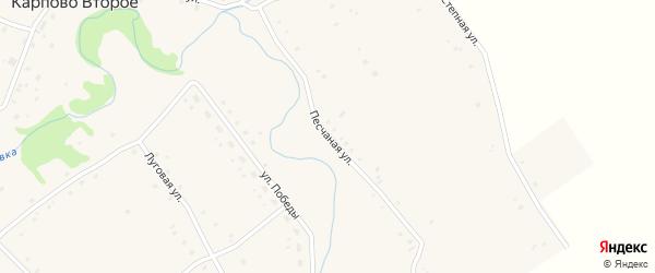 Песчаная улица на карте Карпова Второго села с номерами домов