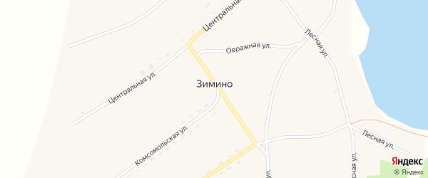 Комсомольская улица на карте села Зимино с номерами домов