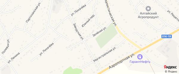 Зеленая улица на карте села Краснощёково с номерами домов
