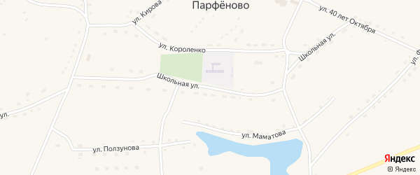 Школьная улица на карте села Переясловки с номерами домов