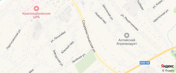 Социалистическая улица на карте села Краснощёково с номерами домов