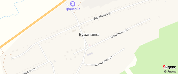 Центральный переулок на карте поселка Бурановки с номерами домов