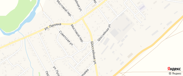 Шоссейная улица на карте села Краснощёково с номерами домов