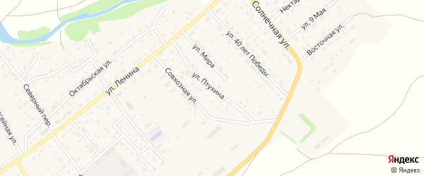 Улица Птухина на карте села Краснощёково с номерами домов