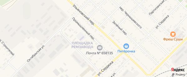 Промышленный переулок на карте Алейска с номерами домов