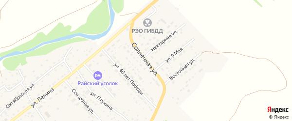 Солнечная улица на карте села Краснощёково с номерами домов