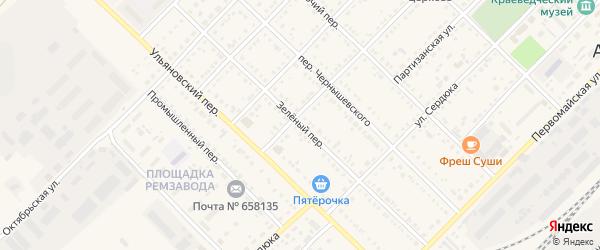Зеленый переулок на карте Алейска с номерами домов