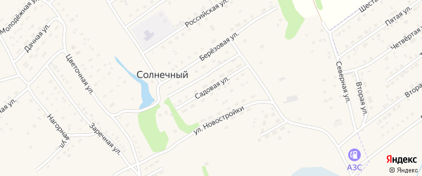 Садовая улица на карте Солнечного поселка с номерами домов