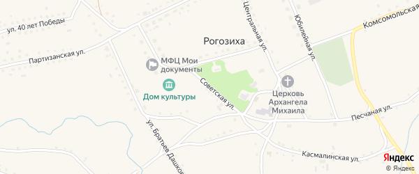 Советская улица на карте села Рогозиха с номерами домов