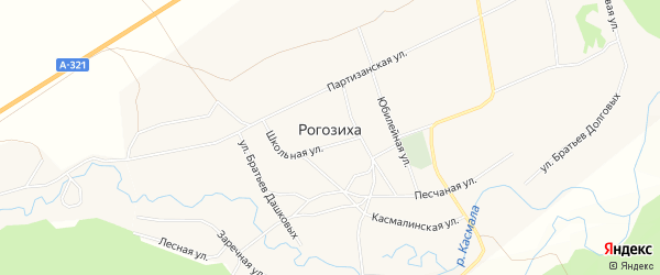 Карта села Рогозиха в Алтайском крае с улицами и номерами домов