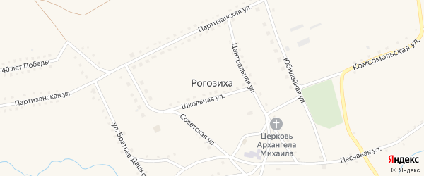 Школьная улица на карте села Рогозиха с номерами домов