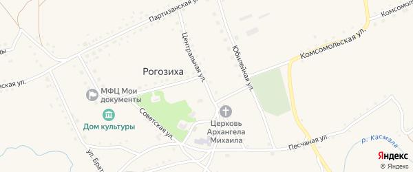 Центральная улица на карте села Рогозиха с номерами домов
