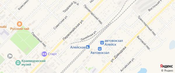 Линейная улица на карте Алейска с номерами домов