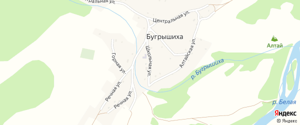 Школьная улица на карте села Бугрышихи с номерами домов