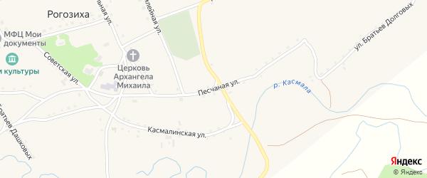 Песчаная улица на карте села Рогозиха с номерами домов