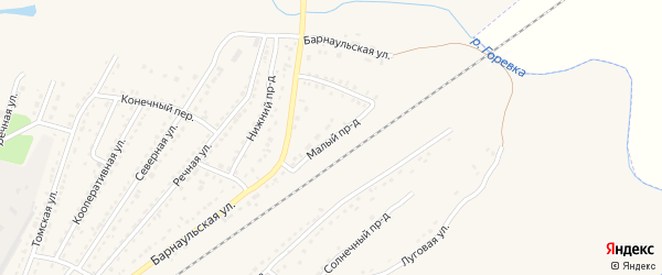 Малый проезд на карте Алейска с номерами домов