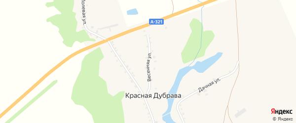 Весенняя улица на карте поселка Красной Дубравы с номерами домов