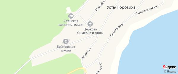 Центральная улица на карте села Усть-Порозихи с номерами домов