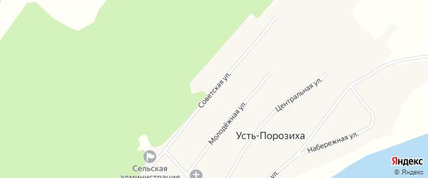 Советская улица на карте села Усть-Порозихи с номерами домов