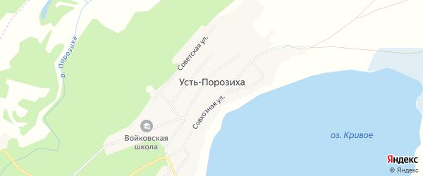 Карта села Усть-Порозихи в Алтайском крае с улицами и номерами домов