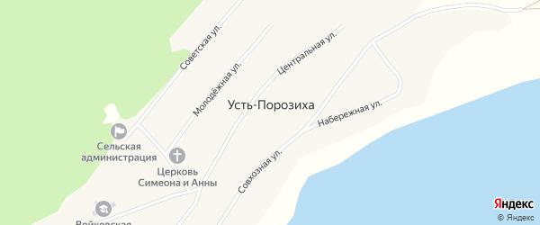 Молодёжная улица на карте села Усть-Порозихи с номерами домов
