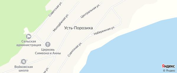 Набережная улица на карте села Усть-Порозихи с номерами домов