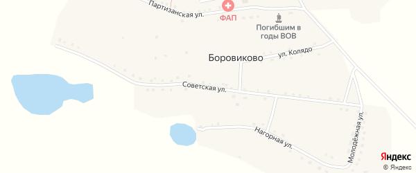 Советская улица на карте села Боровиково с номерами домов