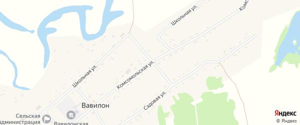 Комсомольская улица на карте села Вавилона с номерами домов