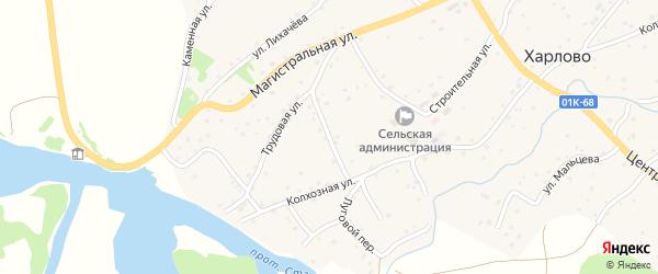 Западный переулок на карте села Харлово с номерами домов