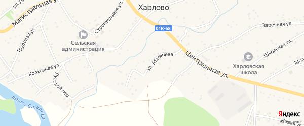 Улица Мальцева на карте села Харлово с номерами домов