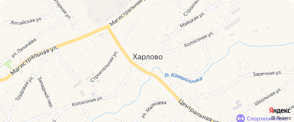 Запрудный переулок на карте села Харлово с номерами домов