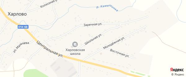 Школьная улица на карте села Харлово с номерами домов
