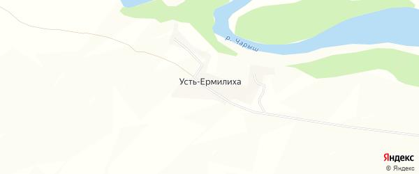 Карта поселка Усть-Ермилихи в Алтайском крае с улицами и номерами домов