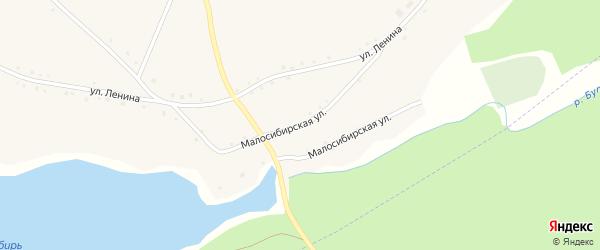 Малосибирская улица на карте Колыванского села с номерами домов
